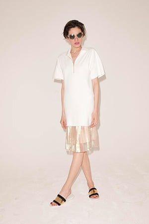 All Ages pink: tunic dress sandals sheer pleated skirt