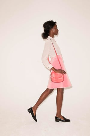All Ages pink: blouse pink felt skirt pink bag flat black shoes