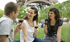 Young people with wine in Paris
