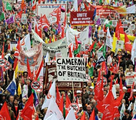 The 2011 TUC March for the Alternative in London, protesting against government spending cuts.