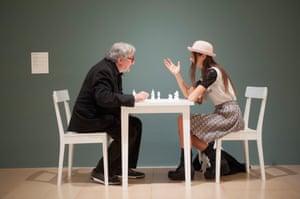 White Chess Set 1966/2013 (Jon Hendricks the exhibition curator plays against Yoko Ono's assistant Gabriella Daris).