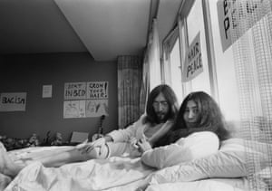 Yoko Ono and John Lennon performing Bed-In for Peace at the Hilton Hotel, Amsterdam, March 25-31, 1969.