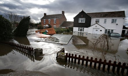 Flooded homes in Moorland, Somerset levels, in February.