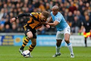 Hull v City: Nikica Jelavic and Vincent Kompany tussle