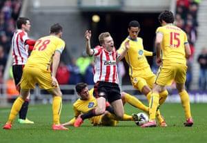 Saturday roundup: Crystal Palace Joel Ward brings down Sunderland's Sebastian Larsson