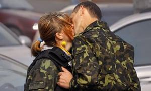 Ukraine kissing couple