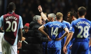 Chelsea boss Jose Mourinho is sent off in the dying moments of the game, - and follows Willian and Ramires down the tunnel for Chelsea.