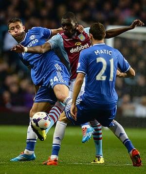 saturday's games: Aston Villa's Christian Benteke, Chelsea's Gary Cahill and Nemanja Matic