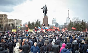Pro-Russian protesters gather for their rally on the main square of the east-Ukrainian city of Kharkiv.