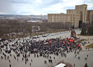 Pro-Russian protesters gathered for their rally in downtown east-Ukrainian city of Kharkiv.