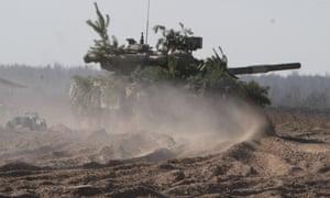 A Ukrainian military tank seen during an exercise  in Chernigov, Ukraine.