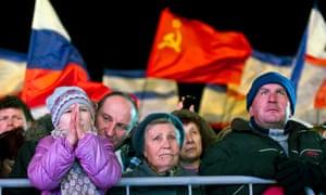 Pro-Russian people celebrate in Lenin Square, in Simferopol, Ukraine