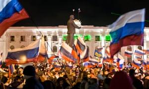 A pro-Russian crowd celebrate in Lenin Square, in Simferopol. crimea ukraine russia