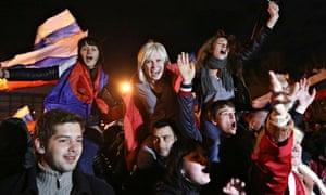 Pro-Russian people celebrate in Simferopol