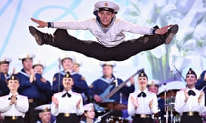 Artists of the Russian Black Sea fleet dance for pro-Russian celebration in Lenin Square, Simferopol