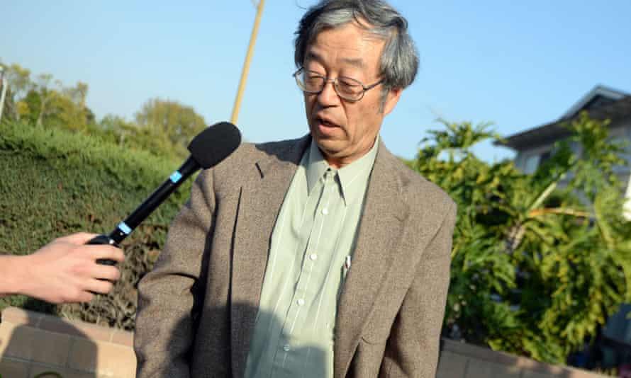 Dorian Satoshi Nakamoto, 64, talks with the media at his home in Temple City, California.