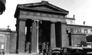 The Neo-Classical entrance arch to London's Euston station which was demolished in 1962.
