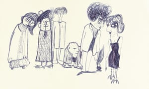 Untitled illustration of seven people and a dog by John Lennon