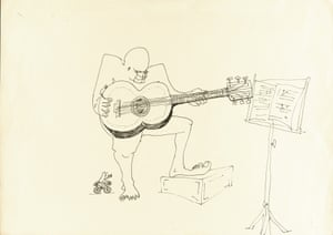 Untitled illustration of a four-eyed guitar player by John Lennon