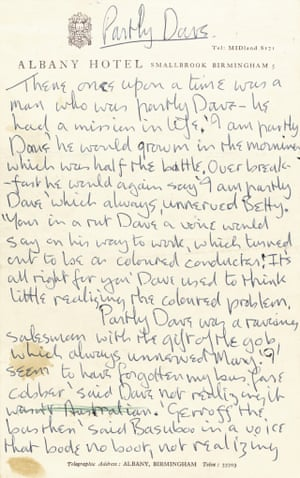 Lennon wrote Partly Dave for In His Own Write on hotel headed notepaper when the Beatles were staying in Birmingham on 15 December 1963.