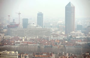 Photo taken on March 14, 2014 from the Basilica of Notre-Dame de Fourviere shows Lyon through a haze of pollution.