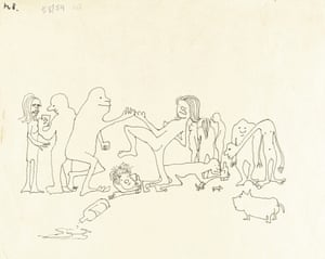 'Puffing and globbering they drugged theyselves rampling or dancing with wild abdomen, stubbing in wild postumes amongst themselves...' from 'Neville Club'