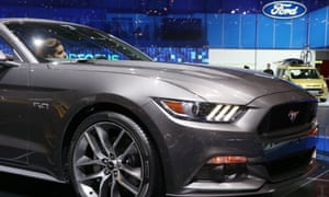 A Ford Mustang on display at the Geneva International Motor Show.