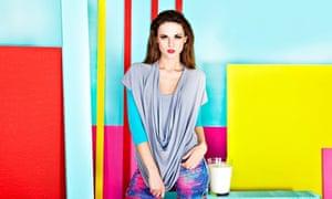 Qmilk model wearing clothes made from milk fibre
