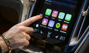 Apple's CarPlay touch-screen commands inside a Volvo Estate concept car.