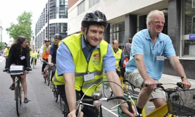 MP Hugh Bayley taking part in a parliamentary bike ride