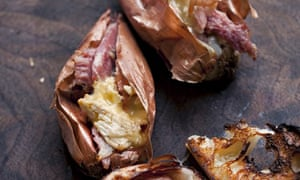 Stuffied shallots with ham and Tunworth by Nigel Slater