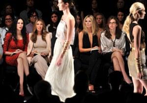 Project Runway judges L'Wren Scott, Nina Garcia, Michael Kors, Heidi Klum and Desiree Gruber attend the Project Runway Spring 2012 fashion show during Mercedes-Benz Fashion Week in New York City.