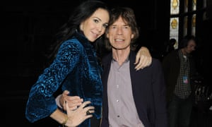 L'Wren Scott and Mick Jagger pose at the L'Wren Scott Fall 2012 fashion show in New York City.