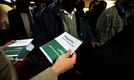 MDG: hepatitis leaflets being handed out