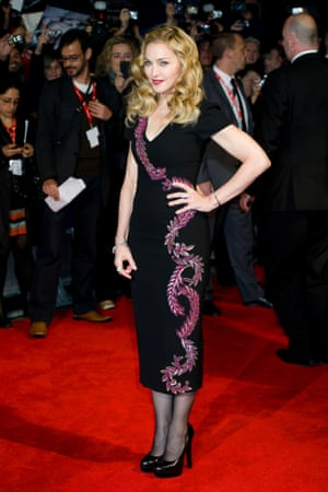 A file photo showing Madonna wearing a L'Wren Scott dress at a BFI London Film Festival gala in London.