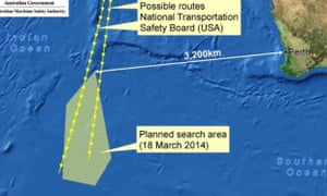 Map shows where the Australian Maritime Safety Authority plans to search for missing Malaysia Airlines flight MH370 on March 18, 2014.