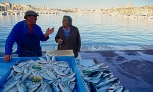 Fresh fish market in Marseille, France