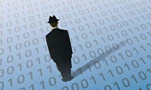 Man standing on binary code