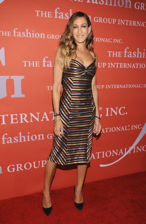 Sarah Jessica Parker in Scott's striped Ottoman dress at the 29th Annual Fashion Group International Night Of Stars in New York, 2012