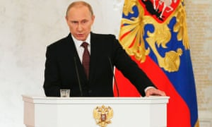 Russian President Vladimir Putin addresses the federal assembly.
