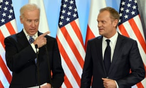 US Vice President Joe Biden (L) and Polish Prime Minister Donald Tusk address a press conference after their meeting in Warsaw, Poland on 18 March, 2013.