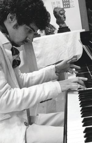 Italian pianist Federico Colli at a Steinway piano, June 2013.