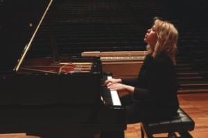 Venezuelan pianist Gabriela Montero rehearses at a Steinway piano before a performance at the Queen Elizabeth Hall on 5 March 2014.
