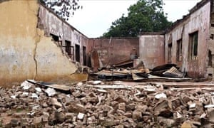 A students' hostel in Yobe state destroyed in a Boko Haram gun and explosives attack