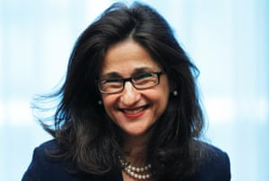 International Monetary Fund (IMF) Deputy Managing Director Nemat Shafik smiles during an eurozone finance ministers meeting at the EU Council in Brussels, in this file photograph dated May 16, 2011.