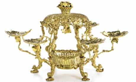 An ornate gold table centrepiece, known as the Bute espergne