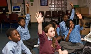 Children with hands up