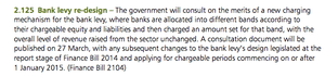 Bank levy changes, Budget 2014