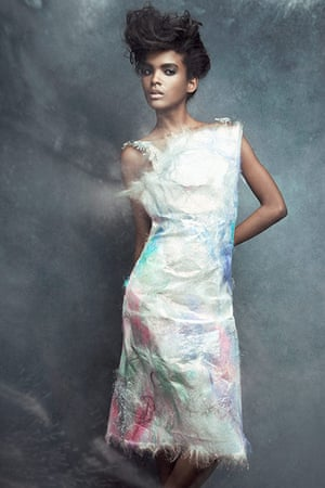 Iridescent: Silk fibres dress Christopher Kane