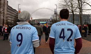Manchester City fans on the long walk up Wembley Way.